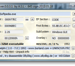 ExEinfo PE Win32 bit identifier 0.0.3.4